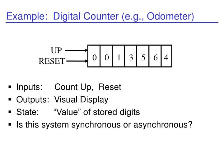 Example:  Digital Counter (e.g., Odometer)