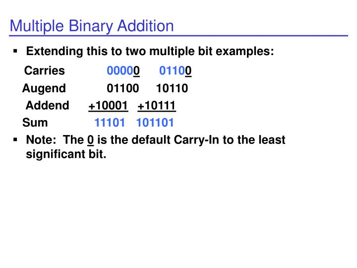 Multiple Binary Addition