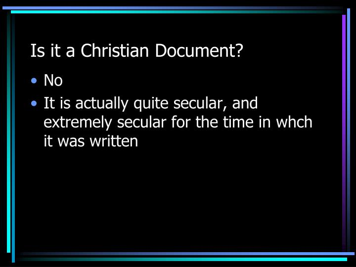 Is it a Christian Document?