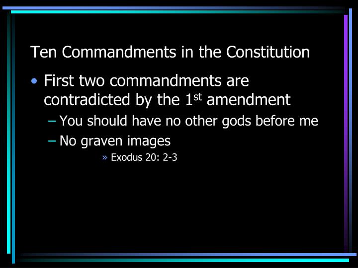 Ten Commandments in the Constitution