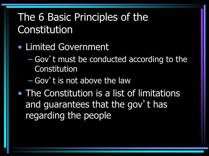 The 6 Basic Principles of the Constitution