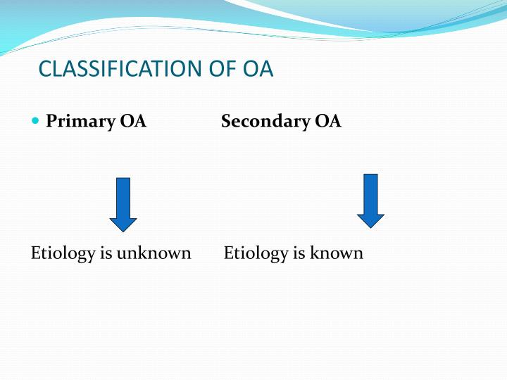 CLASSIFICATION OF OA