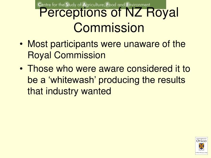 Perceptions of NZ Royal Commission