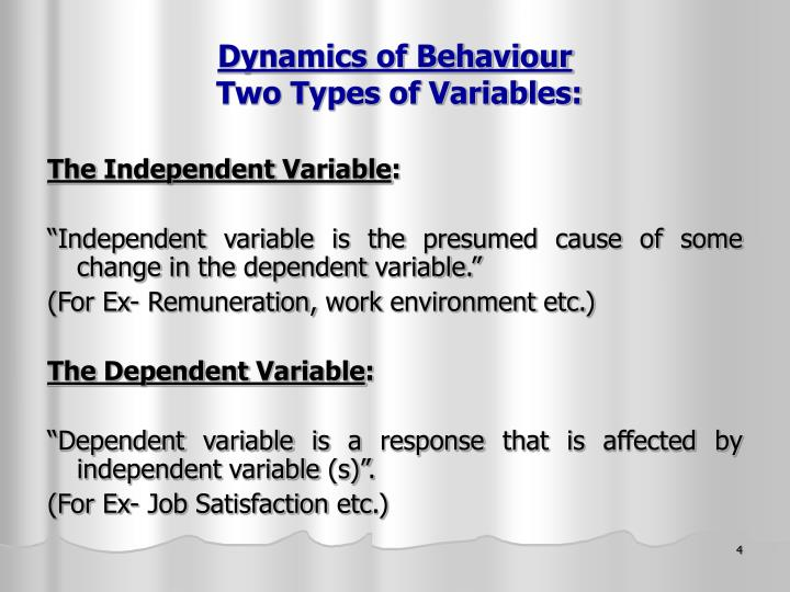 Dynamics of Behaviour