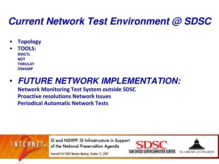 Current Network Test Environment @ SDSC