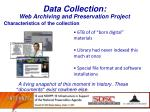 data collection web archiving and preservation project
