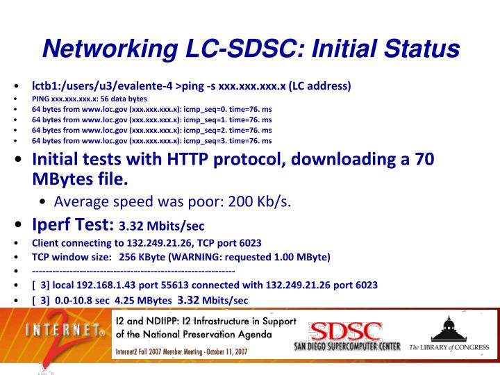 Networking LC-SDSC: Initial Status