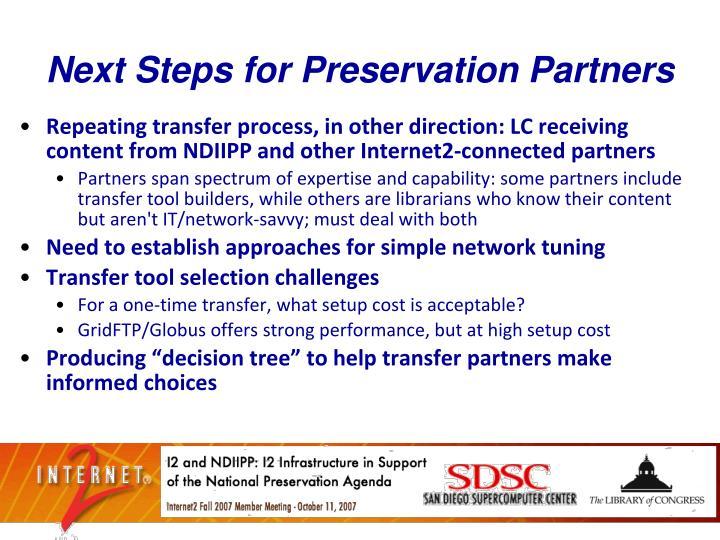 Next Steps for Preservation Partners