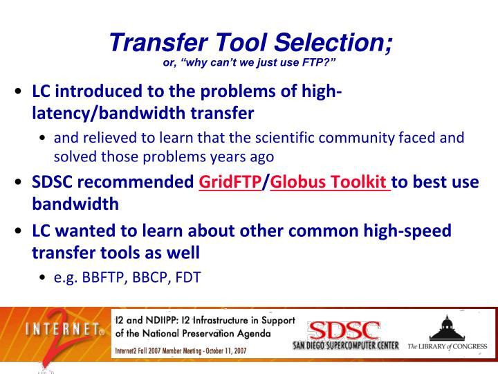 Transfer Tool Selection;