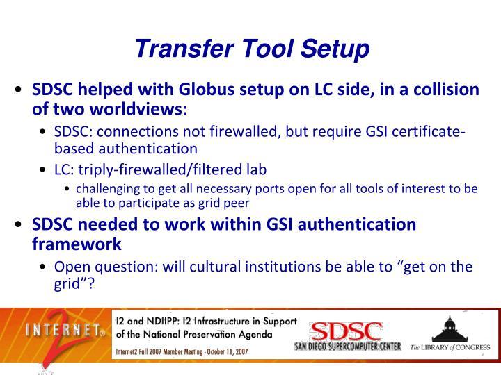 Transfer Tool Setup