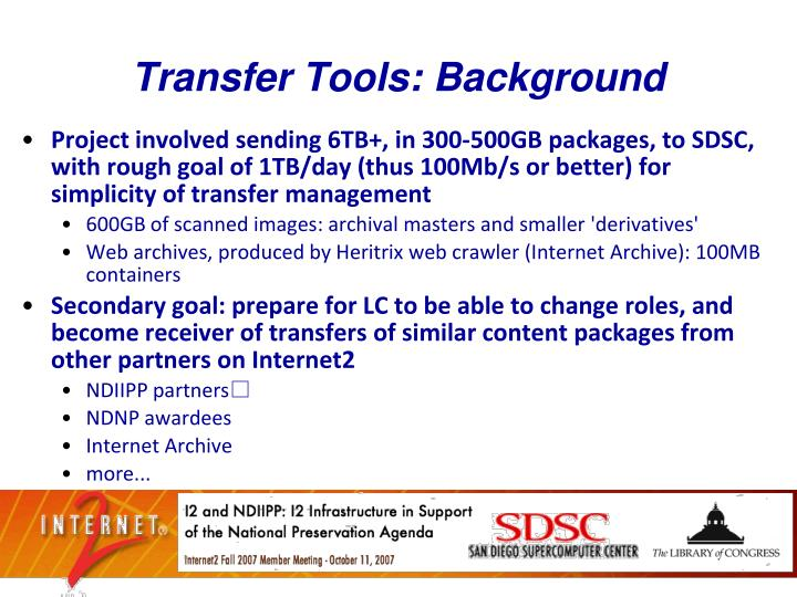 Transfer Tools: Background