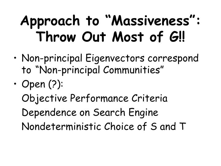 "Approach to ""Massiveness"":"