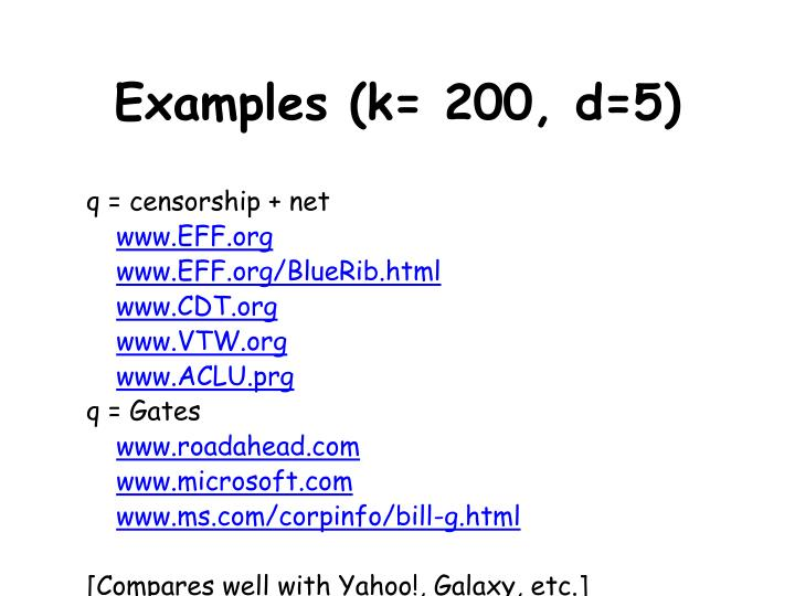 Examples (k= 200, d=5)