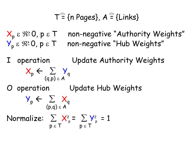 T = {n Pages}, A = {Links}