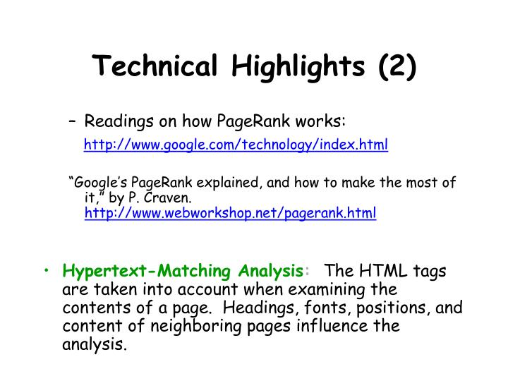 Technical Highlights (2)