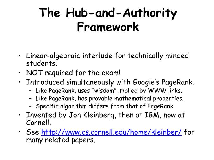 The Hub-and-Authority Framework