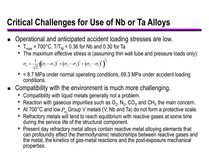 Critical Challenges for Use of Nb or Ta Alloys