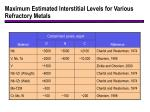maximum estimated interstitial levels for various refractory metals