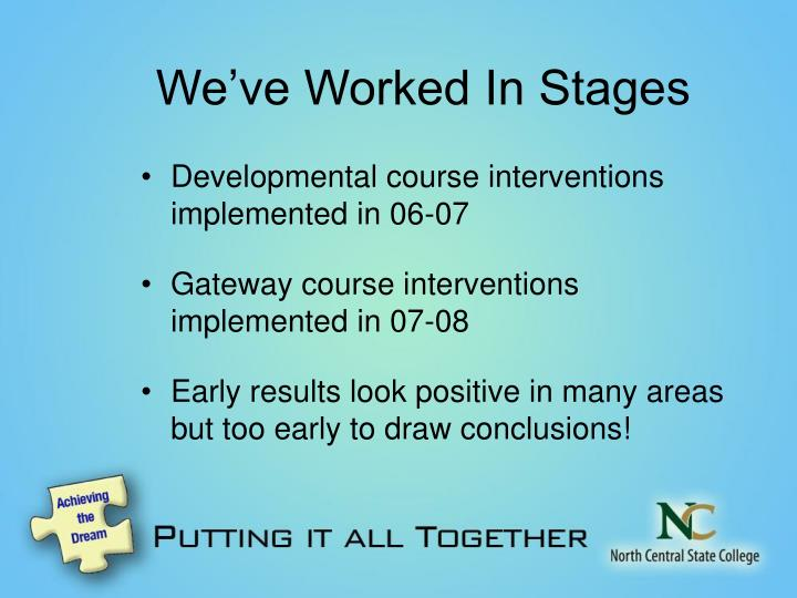 We've Worked In Stages