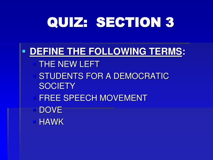 QUIZ:  SECTION 3