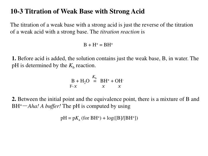 10-3 Titration of Weak Base with Strong Acid