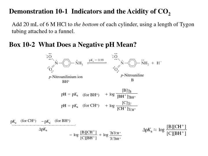 Demonstration 10-1  Indicators and the Acidity of CO