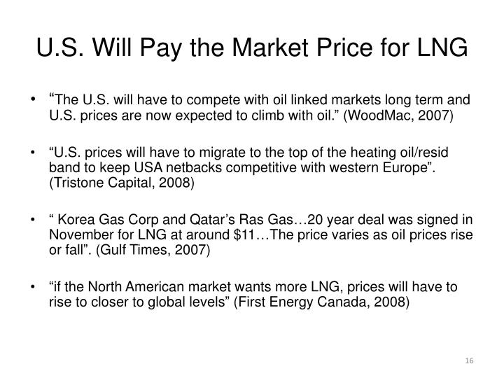 U.S. Will Pay the Market Price for LNG