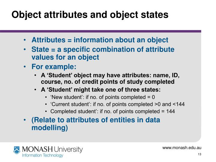 Object attributes and object states