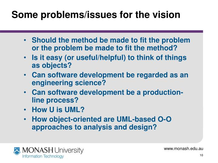 Some problems/issues for the vision