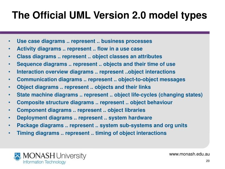 The Official UML Version 2.0 model types