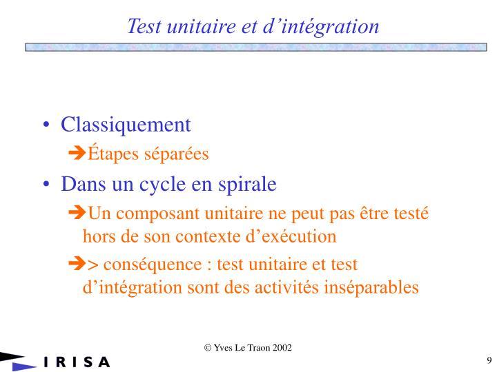 Test unitaire et d'intégration