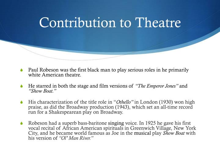 Contribution to Theatre