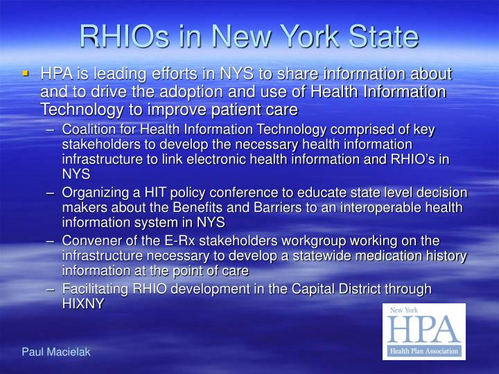 RHIOs in New York State