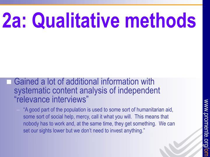 2a: Qualitative methods