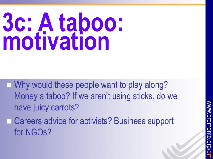 3c: A taboo:  motivation