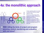 4a the monolithic approach
