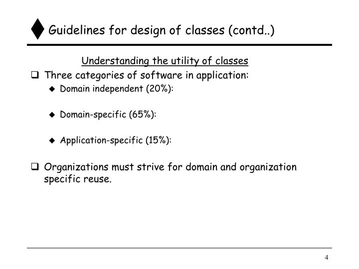 Guidelines for design of classes (contd..)
