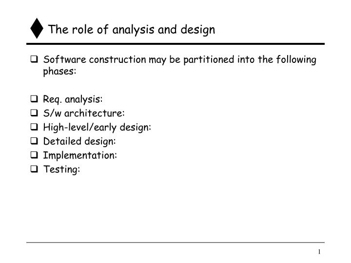 The role of analysis and design