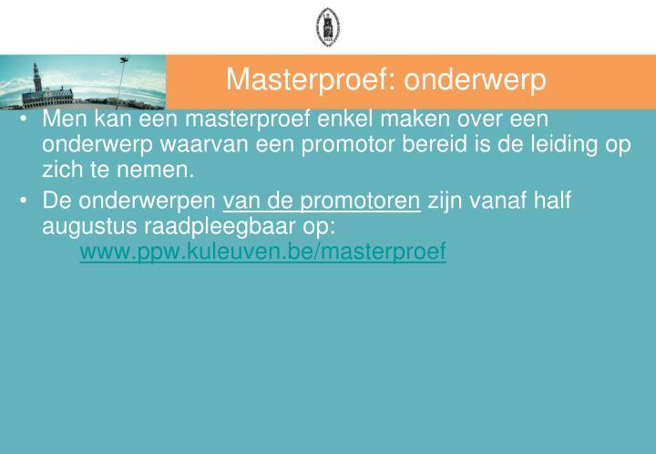 Masterproef: onderwerp