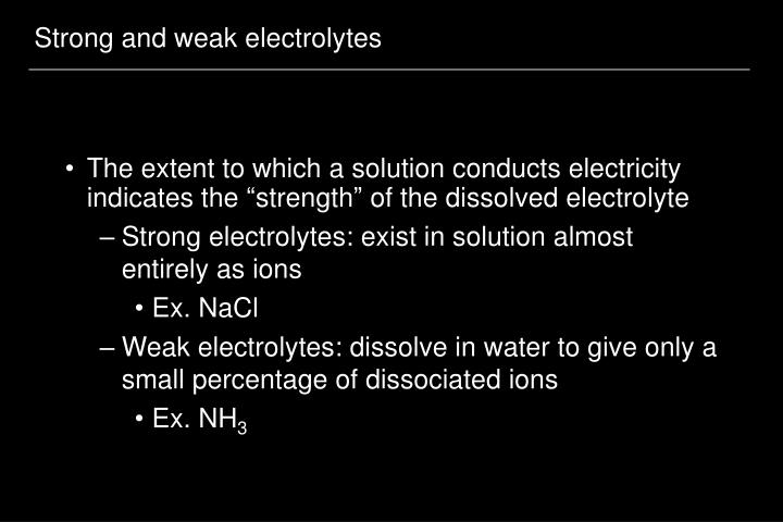 Strong and weak electrolytes