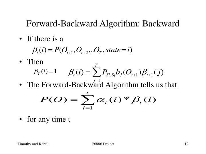 Forward-Backward Algorithm: Backward