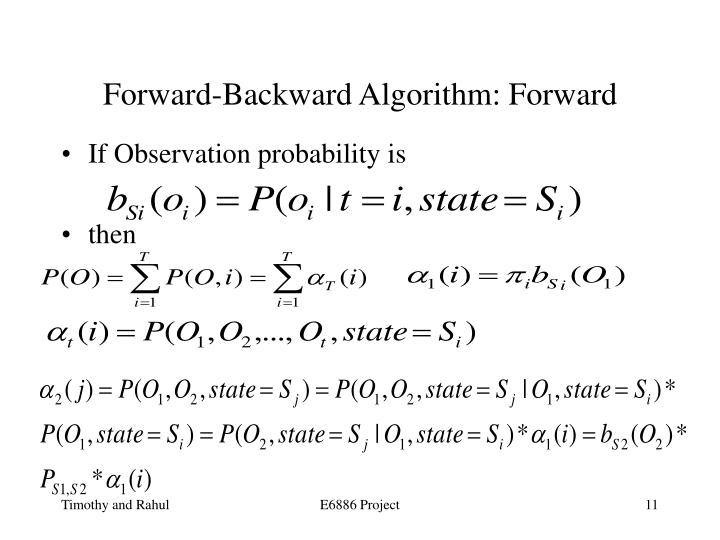 Forward-Backward Algorithm: Forward