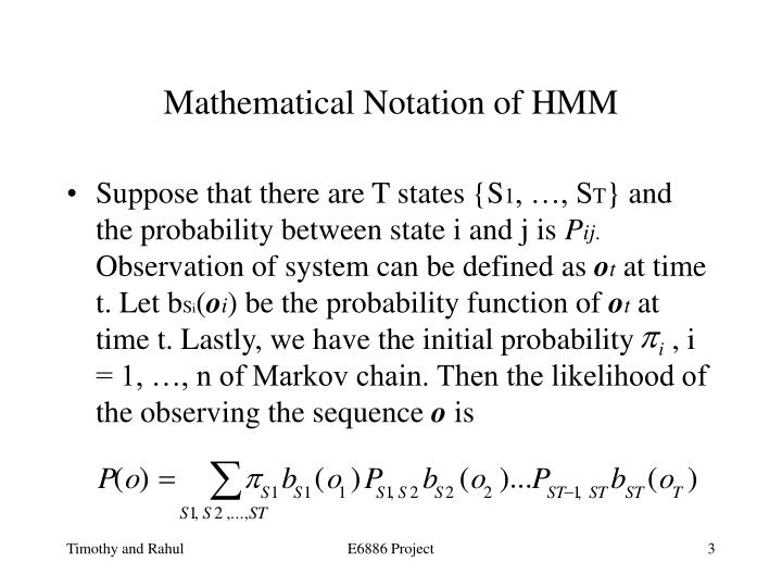 Mathematical notation of hmm