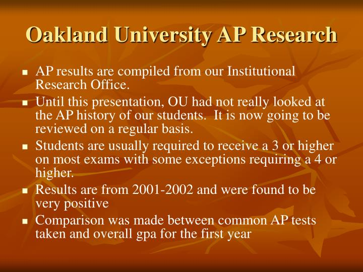 Oakland University AP Research