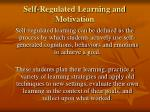 self regulated learning and motivation