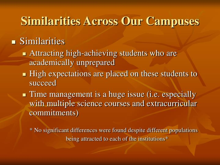 Similarities Across Our Campuses
