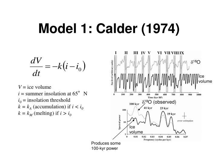Model 1: Calder (1974)
