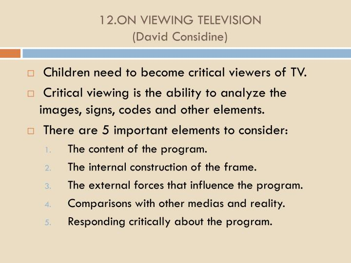 12.ON VIEWING TELEVISION