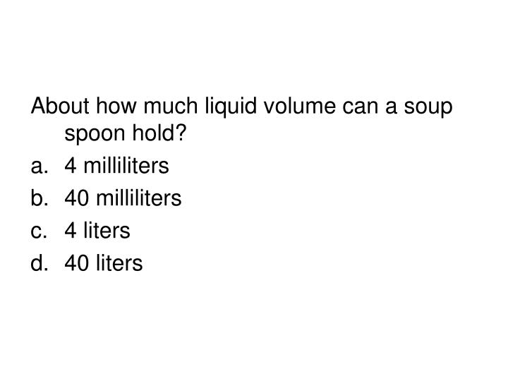 About how much liquid volume can a soup spoon hold?