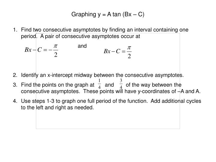 Graphing y = A tan (Bx – C)